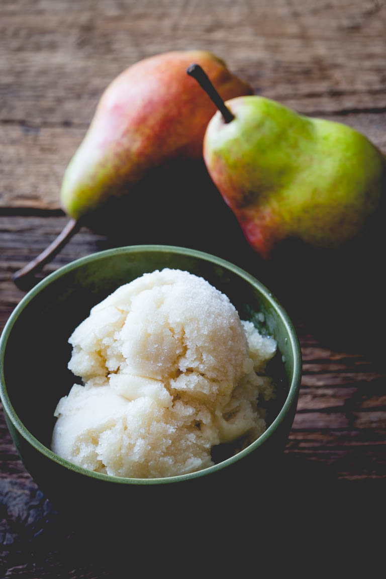 Vegan Maple Pear Ginger Sorbet by Katie Webster for Little Hill Sugarworks | Craft-made Small-batch pure Vermont Maple Syrup.